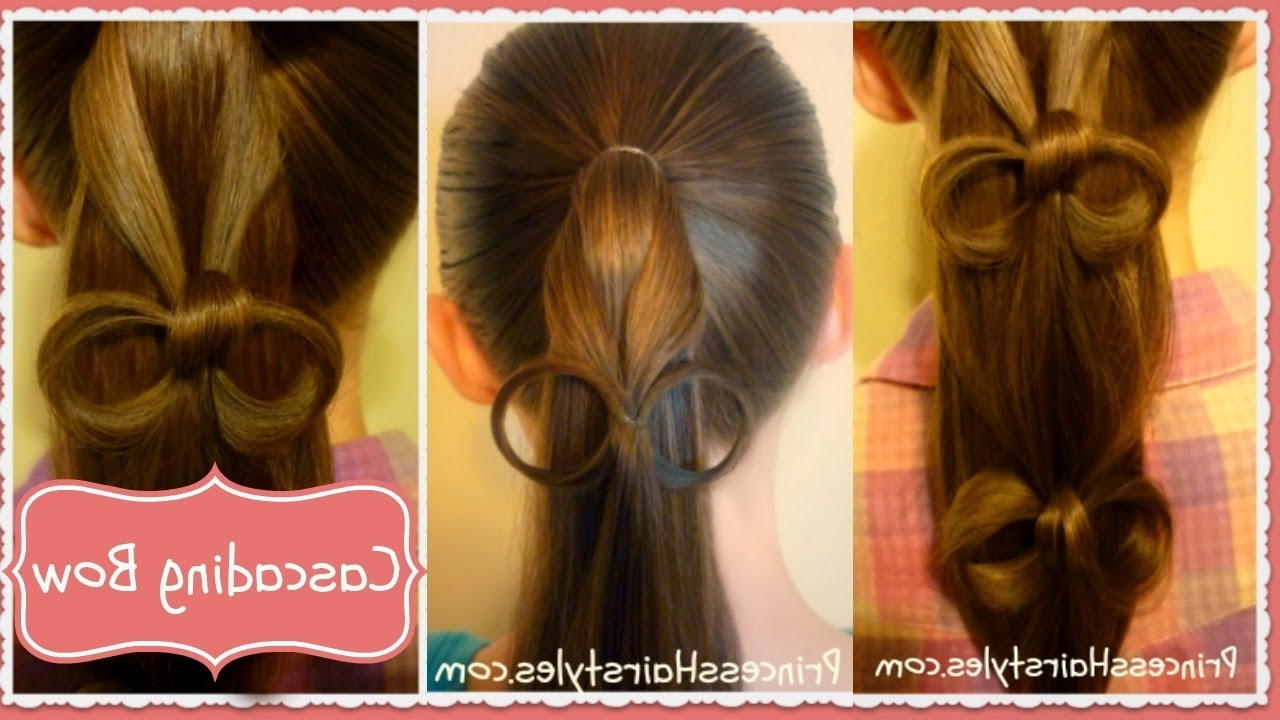Cascading Bows Ponytail Hairstyle – Youtube Inside Popular Cascading Ponytail Hairstyles (View 4 of 20)