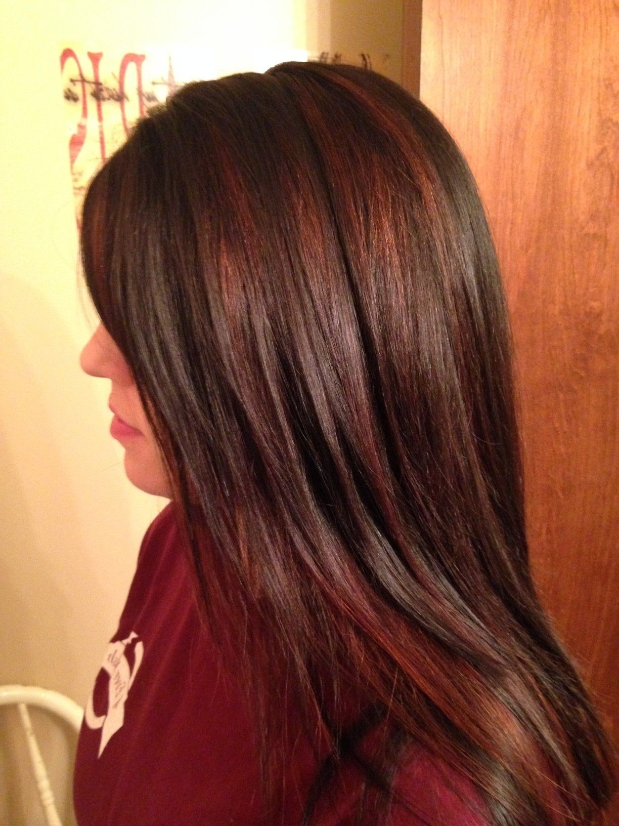 Chocolate Brown With Red Highlights – Love! (View 3 of 20)