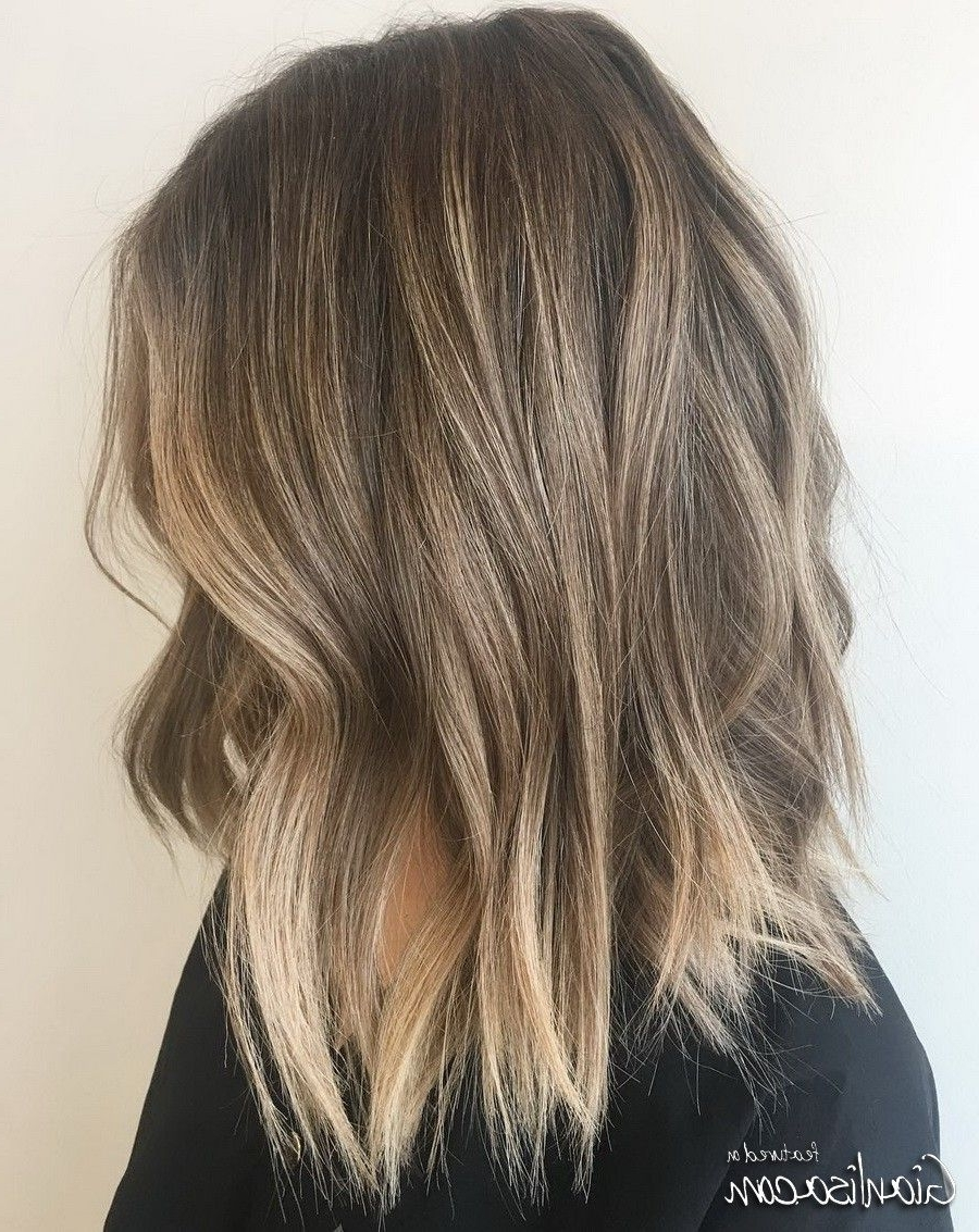 Choppy Lob Hairstyles Ideas With Dark Dirty Blonde Balayage Hair Inside Most Popular Brown Blonde Balayage Lob Hairstyles (View 12 of 20)