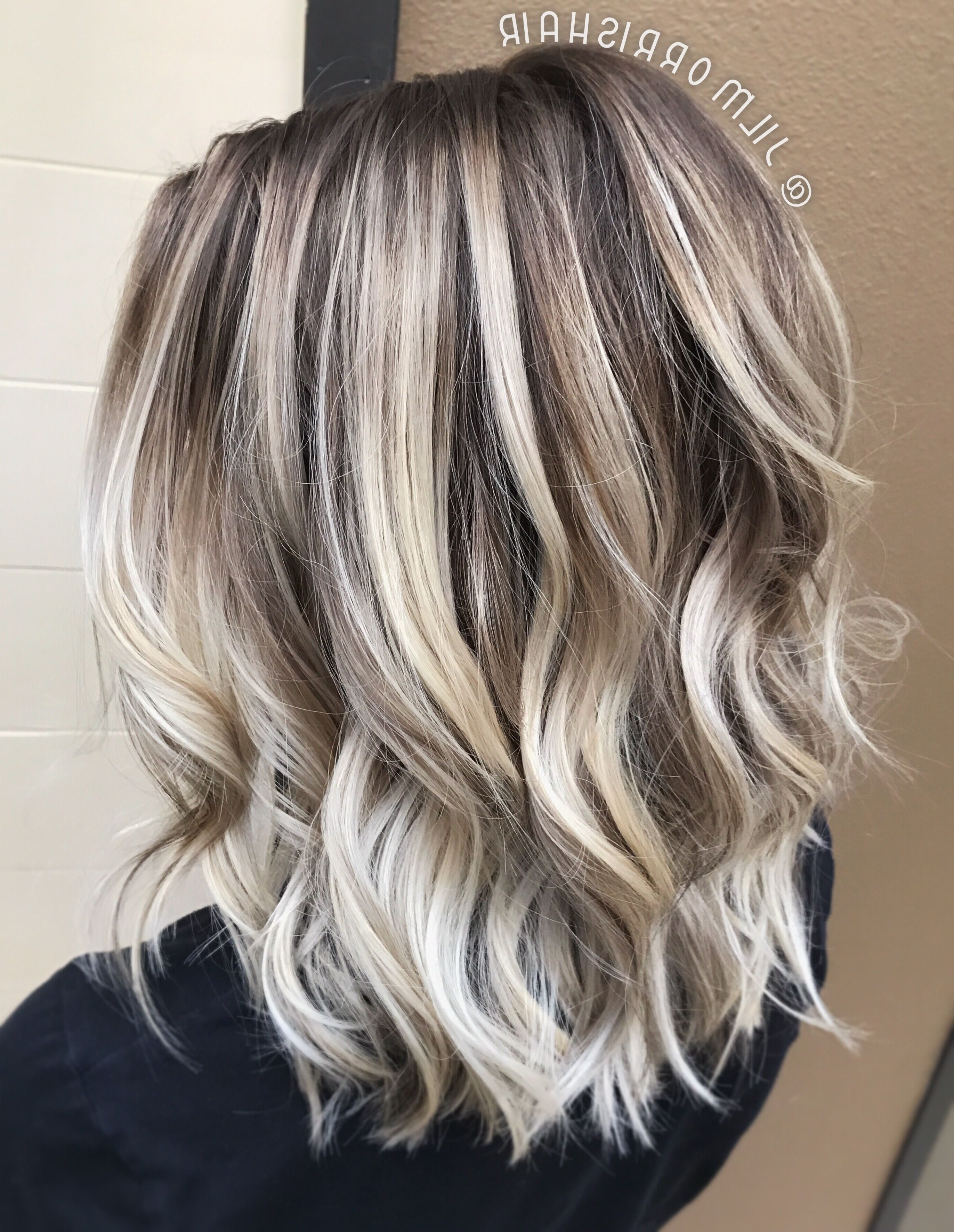 Cool Icy Ashy Blonde Balayage Highlights, Shadow Root, Waves And Intended For Widely Used Dark Roots And Icy Cool Ends Blonde Hairstyles (View 3 of 20)