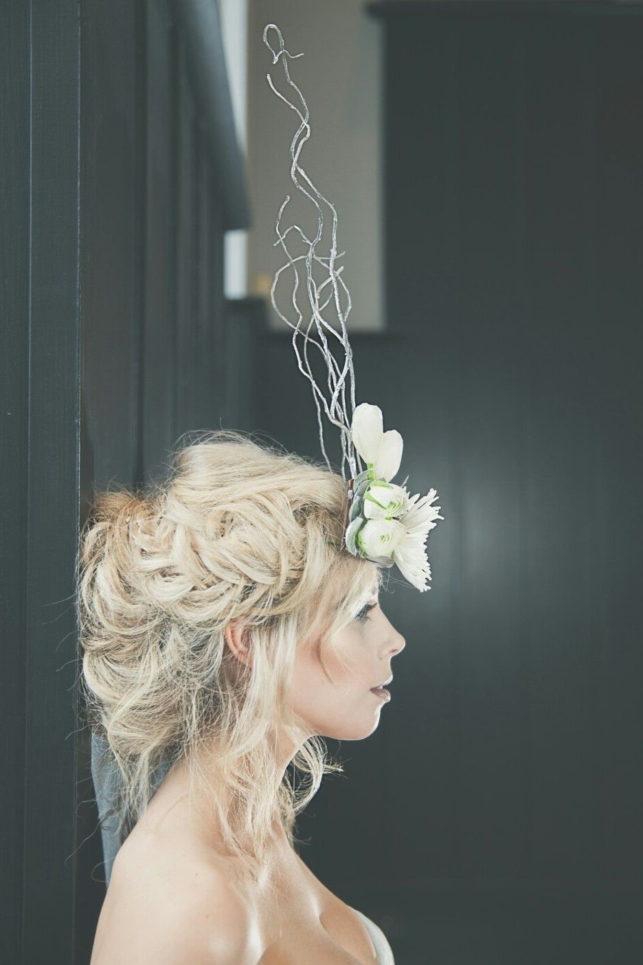Crimped Hair Blonde Wedding Hairstyle Fishtail Plait Flower Crown Throughout Newest White Wedding Blonde Hairstyles (View 2 of 20)