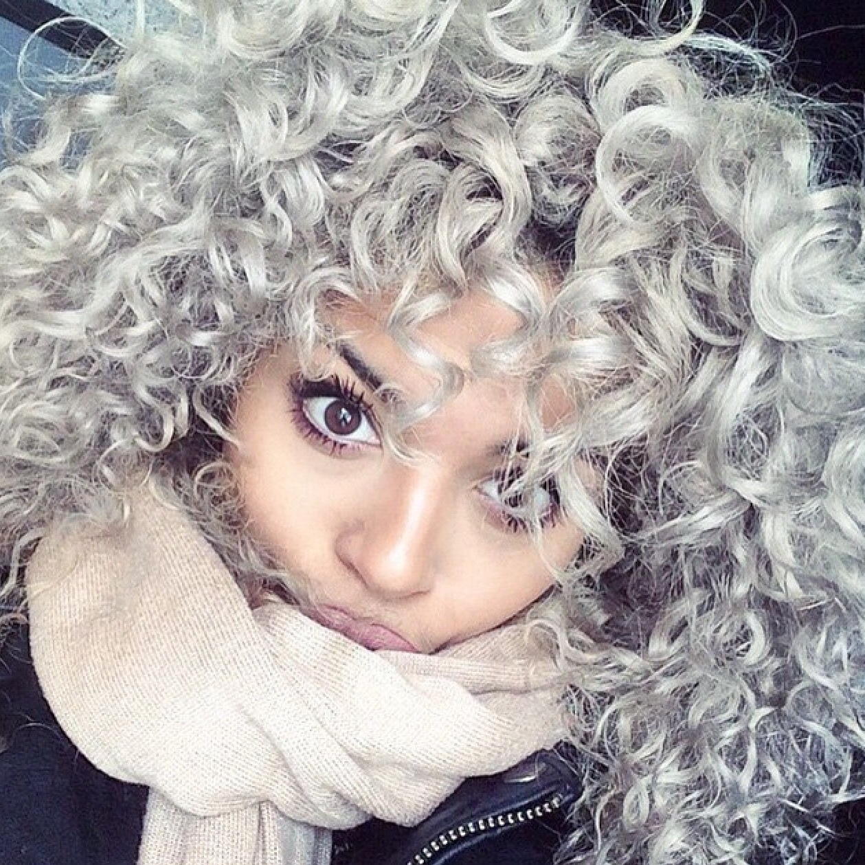 Curly, Gray Intended For Most Up To Date Voluminous Platinum And Purple Curls Blonde Hairstyles (View 6 of 20)