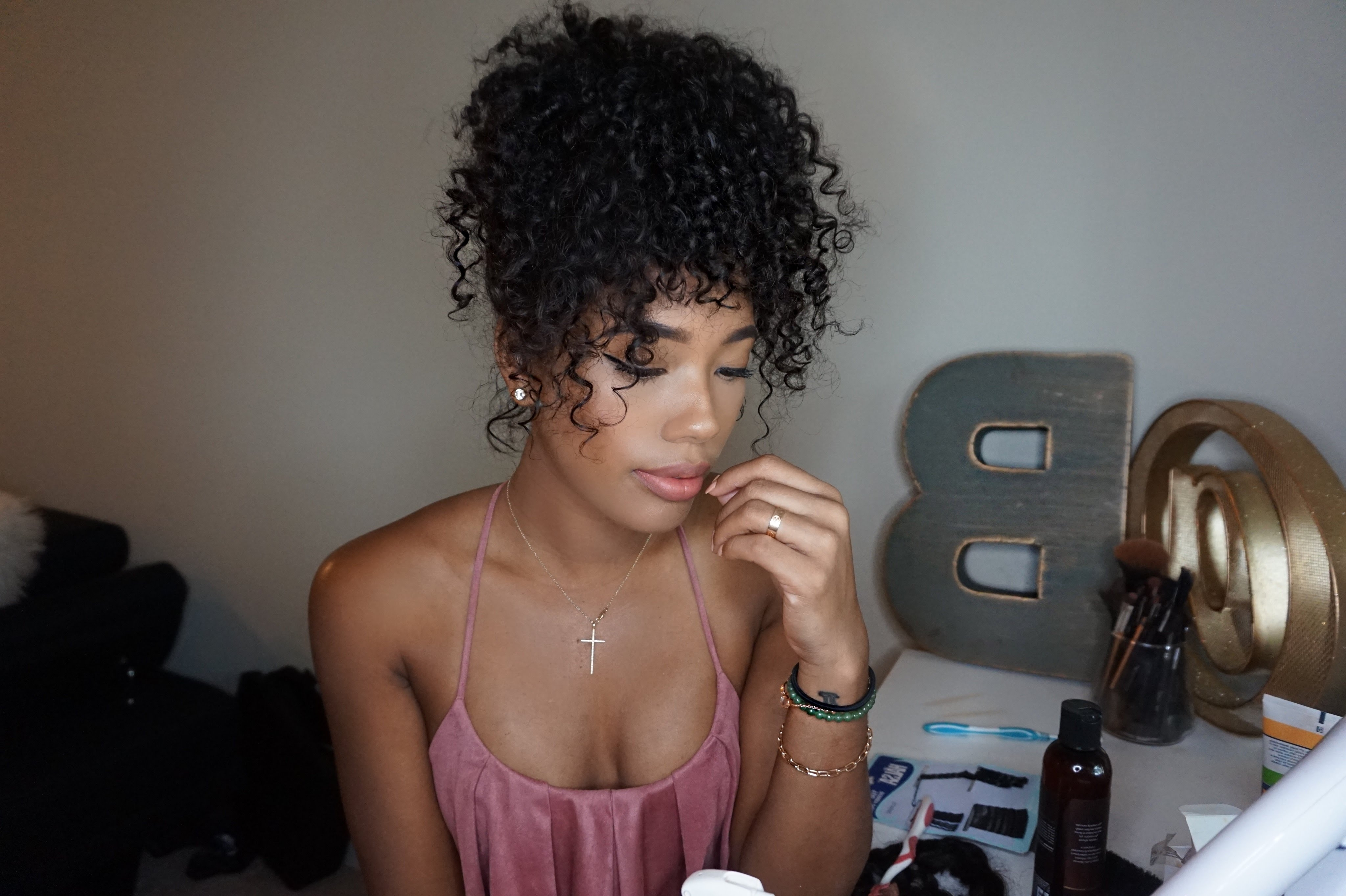 Curly High Ponytail W/ Extensions For Shorter Hair – Youtube Regarding Most Up To Date High Curly Black Ponytail Hairstyles (View 6 of 20)