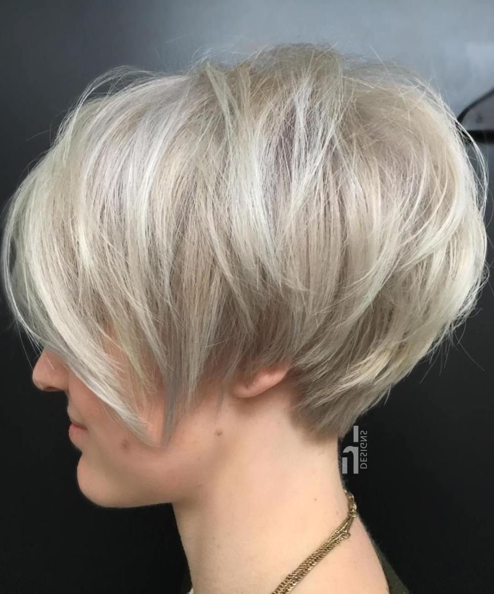 Current Ash Blonde Pixie Hairstyles With Nape Undercut With Layered Ash Blonde Pixie Bob (View 9 of 20)