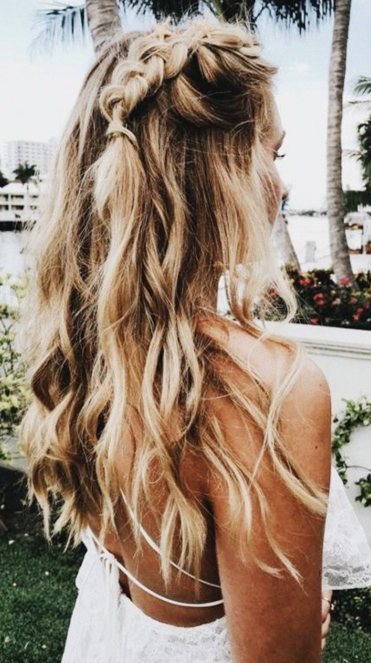 Current Beachy Half Ponytail Hairstyles With Long Blonde Balayage French Braids And Curls (View 7 of 20)