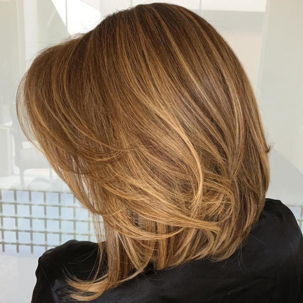 Current Caramel Blonde Lob With Bangs Throughout 60 Inspiring Long Bob Hairstyles And Haircuts (View 2 of 20)