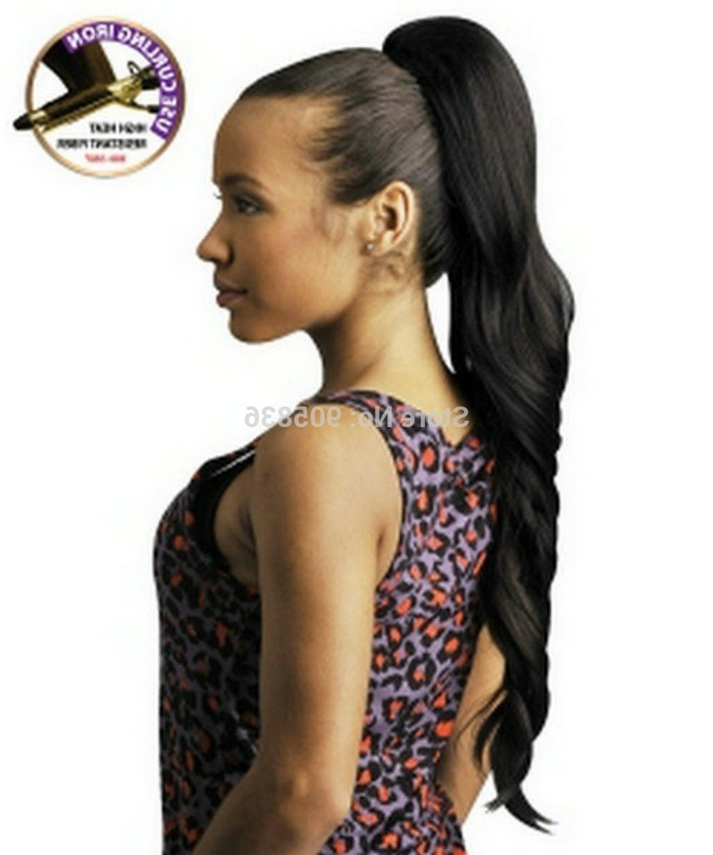 Current Long And Sleek Black Ponytail Hairstyles Pertaining To Long Black Wavy Ponytail Hairstyle Sexy And Sleek Clip In High Wrap (View 5 of 20)