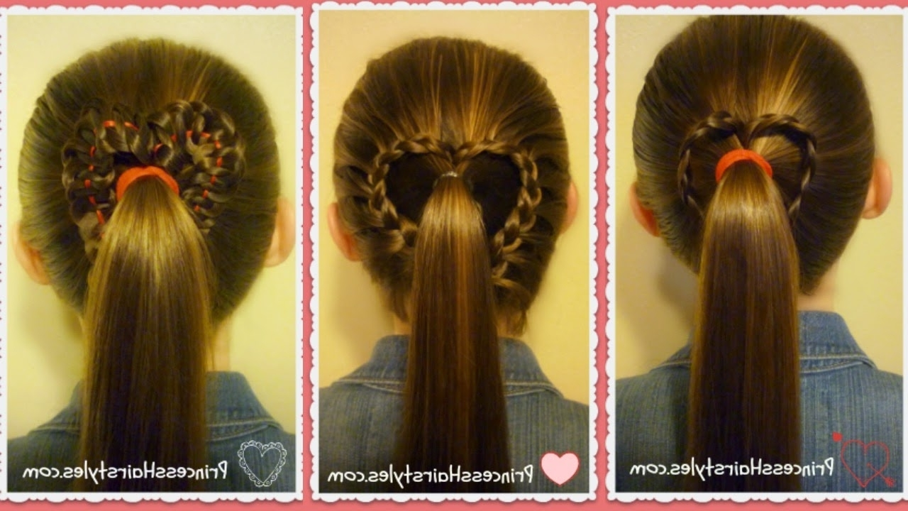 Current Princess Ponytail Hairstyles Regarding 3 Heart Ponytails! Valentine's Day Hairstyles – Hairstyles For Girls (View 9 of 20)