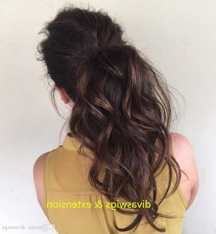 Cute Messy Ponytail Black Hair Drawstring Clip In Puff Wavy Remy Throughout 2017 Ombre Curly Ponytail Hairstyles (View 5 of 20)