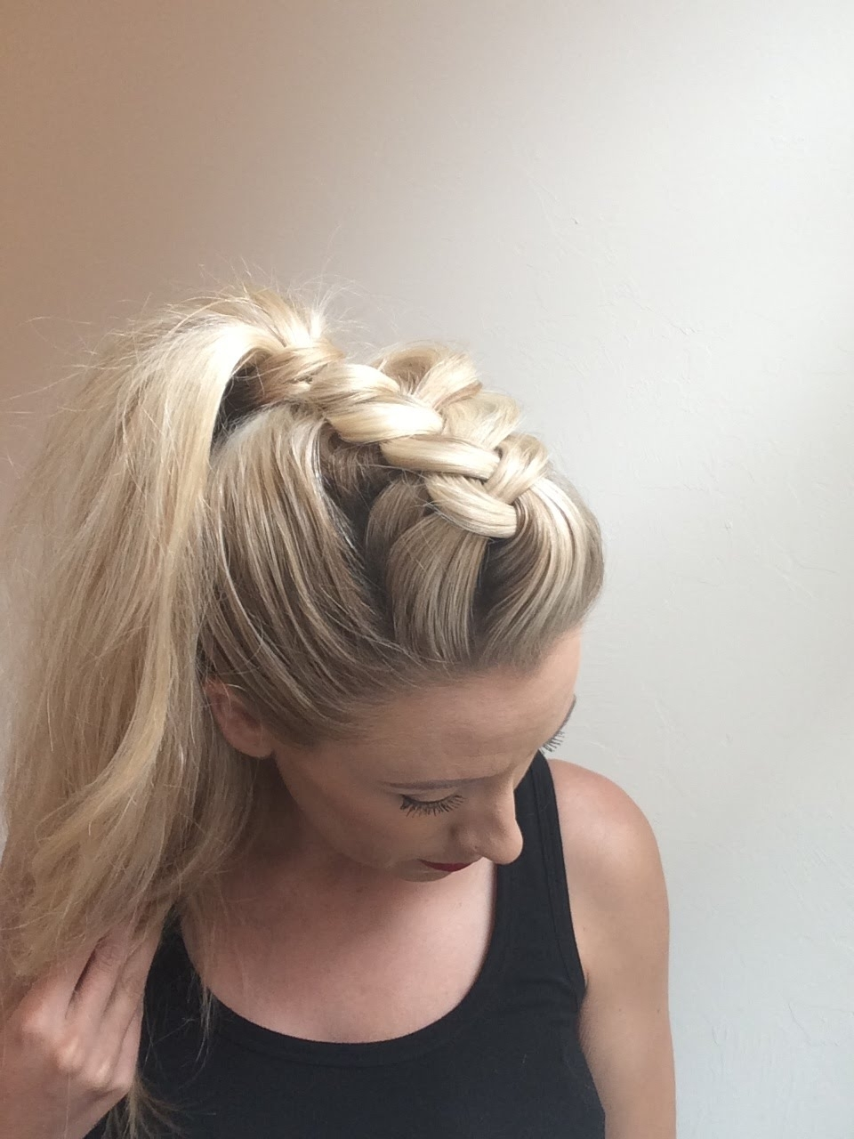 Day 4 – Dutch Faux Hawk Braid W/ Ponytail – Youtube Throughout Preferred Mohawk Braid And Ponytail Hairstyles (View 1 of 20)