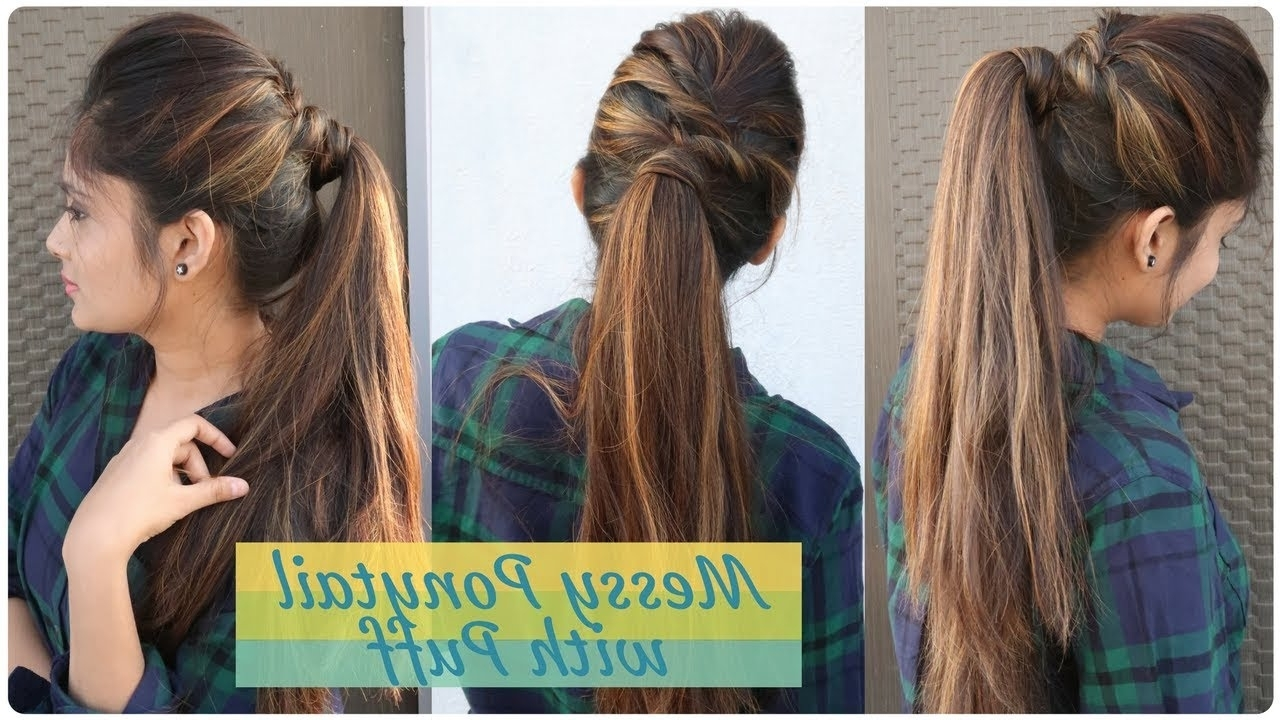 Diy Easy Hairstyle For Within Well Known Messy Ponytail Hairstyles (Gallery 1 of 20)