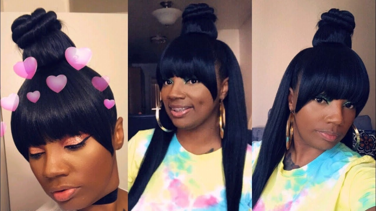 Diy Half Up Half Down With Bang / Ft Vivica Fox Bpb Kelsy And Outre In Fashionable Pineapple Pony Hairstyles With Whirl Bangs (View 3 of 20)