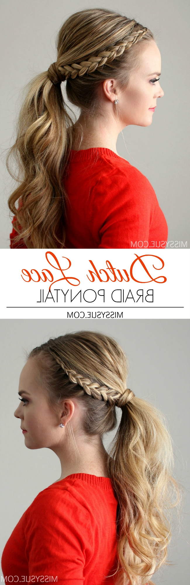 Dutch Lace Braid Ponytail (Gallery 7 of 20)