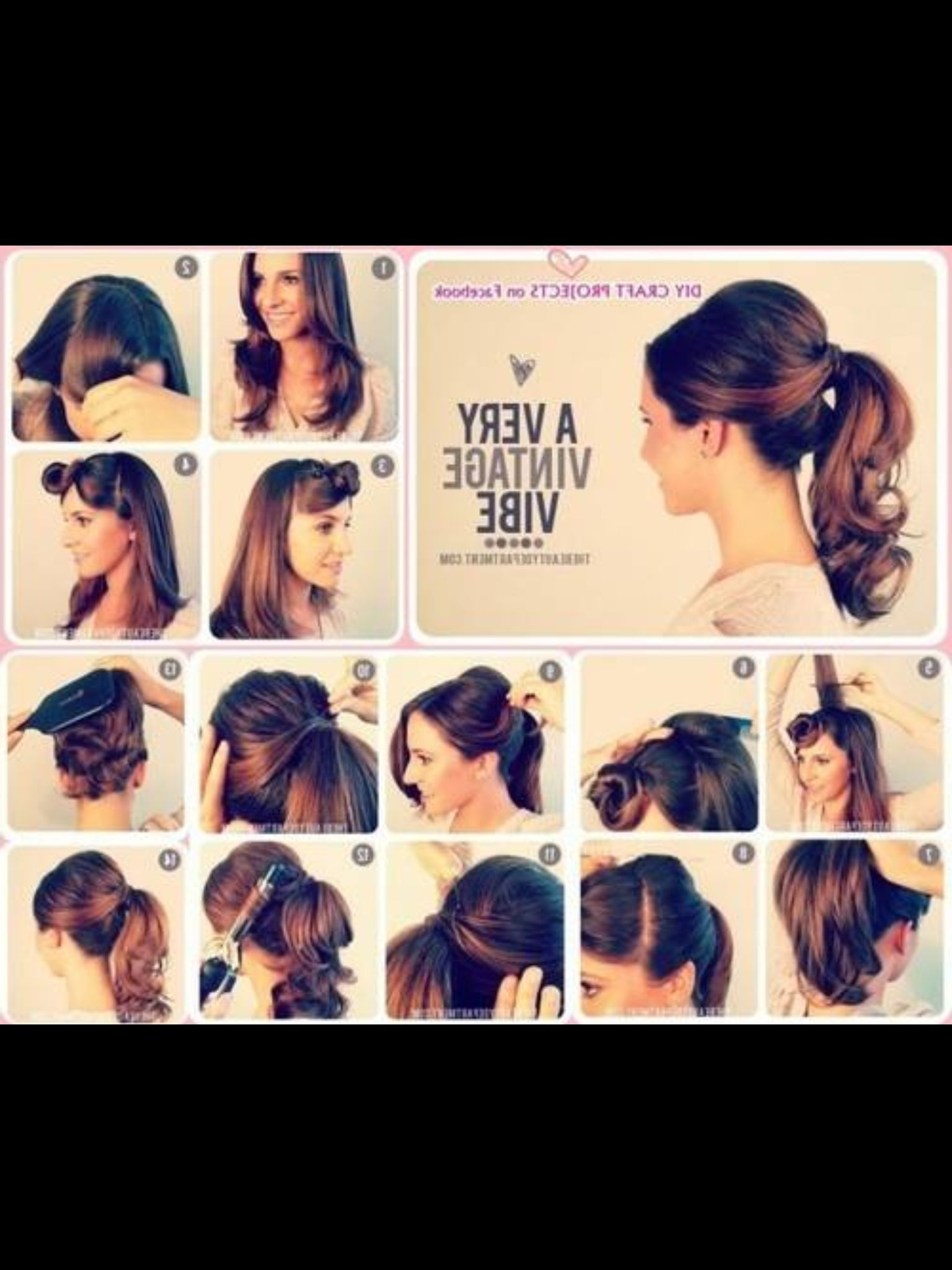 ♡ Hair ♡ Cuts ♡ Colors♡ Styles ♡ In 2018 Inside Preferred Vintage Curls Ponytail Hairstyles (View 1 of 20)