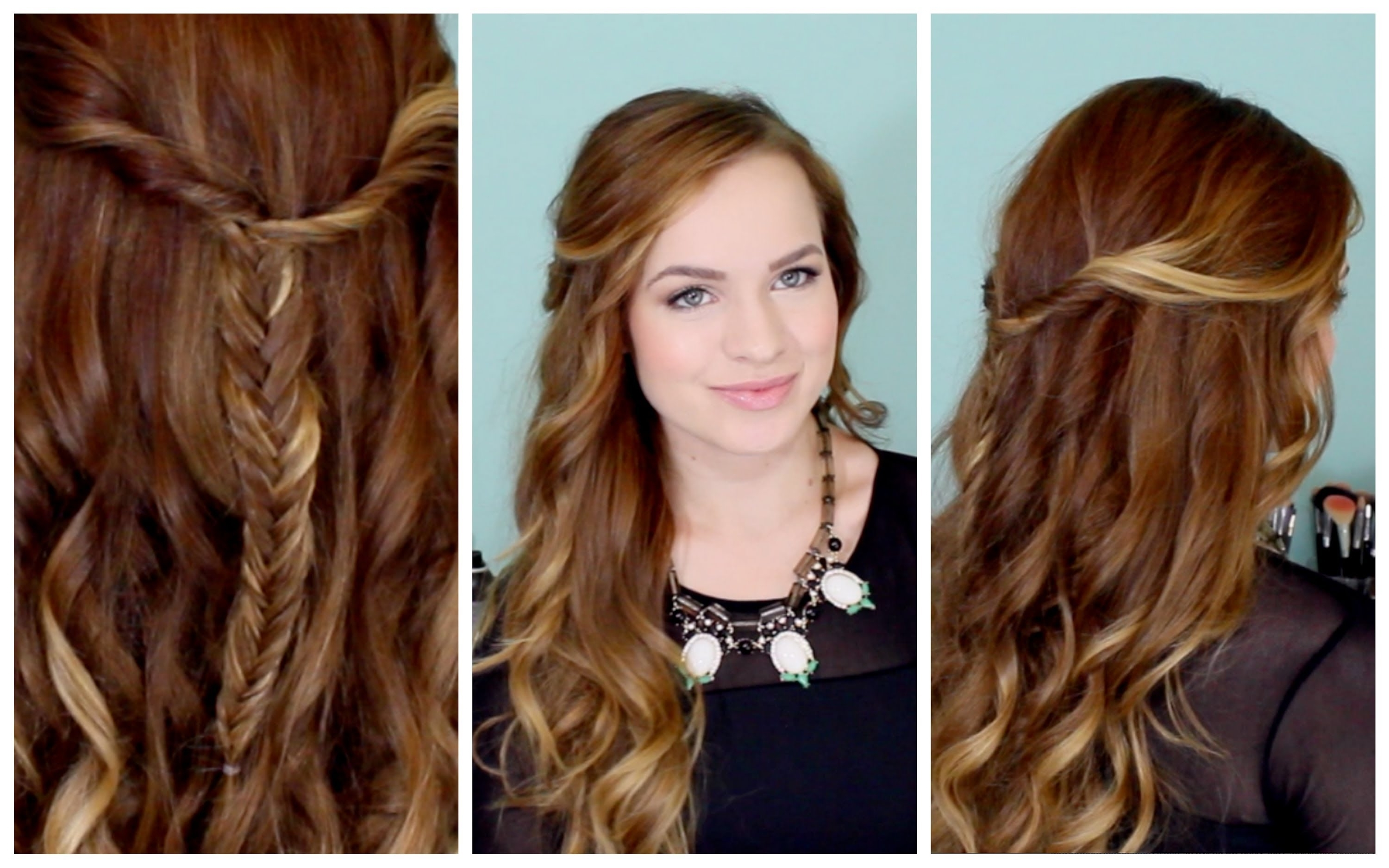 Easy Beachy Half Up Hairstyle For The Holidays! – Youtube Throughout Current Beachy Half Ponytail Hairstyles (Gallery 3 of 20)