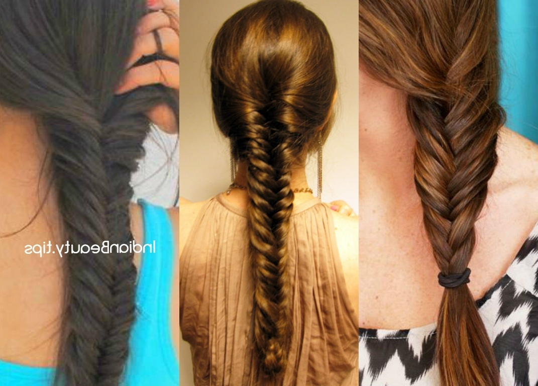 Easy Fishtail Braid Hairstyle Tutorial – Indian Beauty Tips Throughout Newest Wispy Fishtail Hairstyles (View 4 of 20)