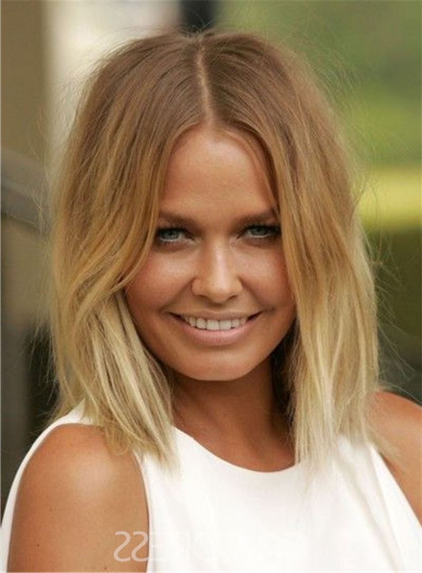Ericdress Blunt Cut Lob Brown Root Blonde Medium Straight Messy Pertaining To Well Known Blonde Lob Hairstyles With Middle Parting (View 6 of 20)