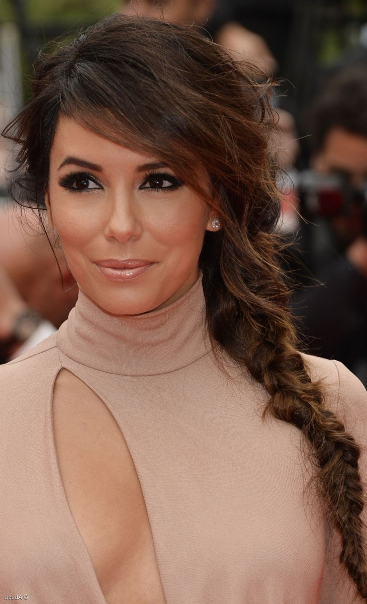 Eva Longoria Messy Side Braid For Long Hair Regarding Current Messy Side Braided Ponytail Hairstyles (View 12 of 20)