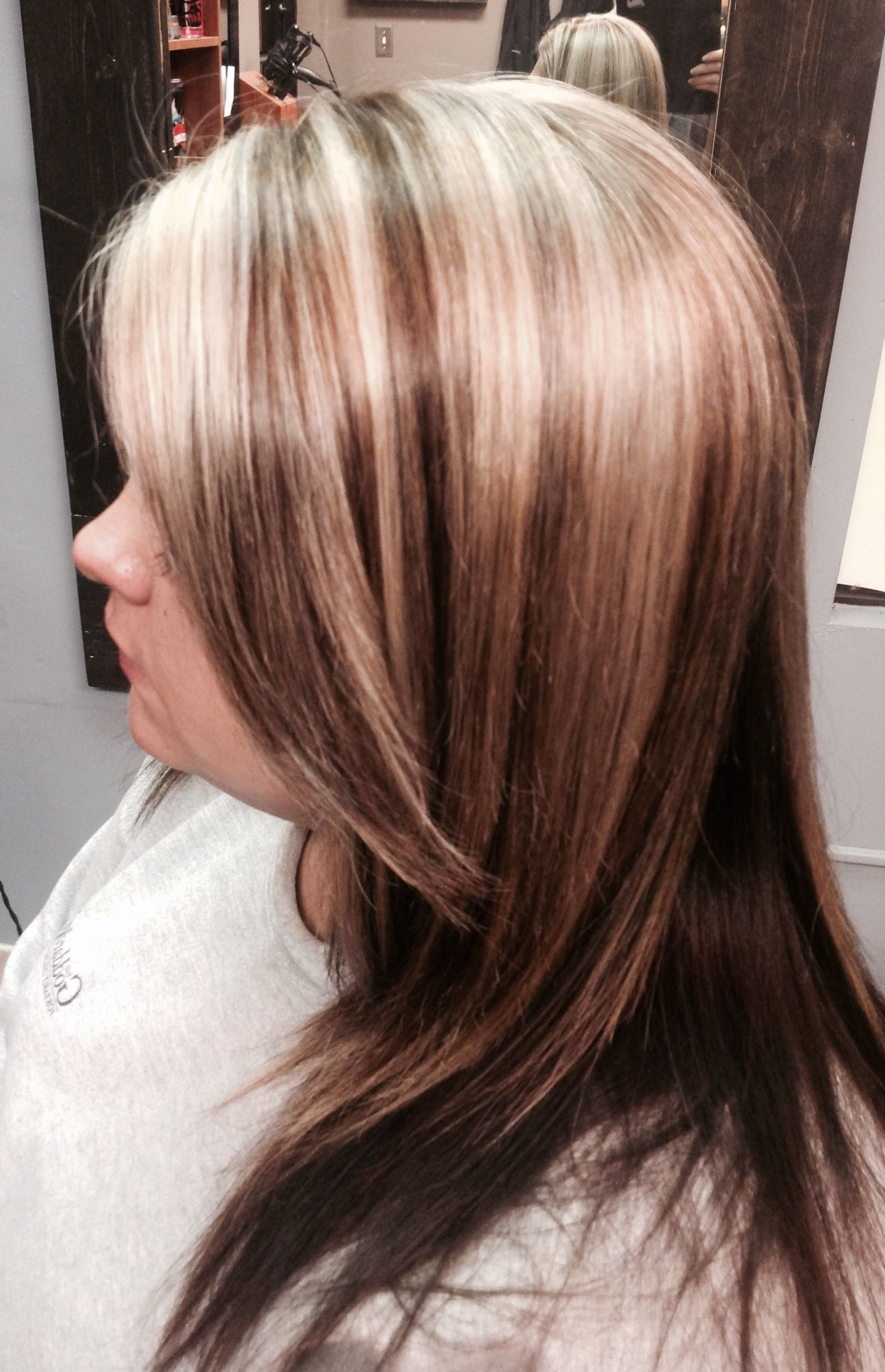 Fall Color Light Blonde With Dark Lowlights Highlights Long Hair In Most Popular Loosely Coiled Tortoiseshell Blonde Hairstyles (View 7 of 20)