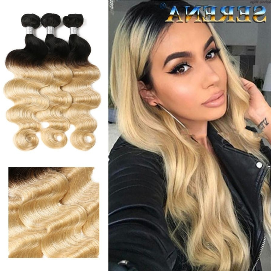 Famous Blonde Ombre Waves Hairstyles With Regard To Blonde 1b 613 Human Hair Wavy Bundles Body Wave Ombre Hairs Weaves (View 15 of 20)