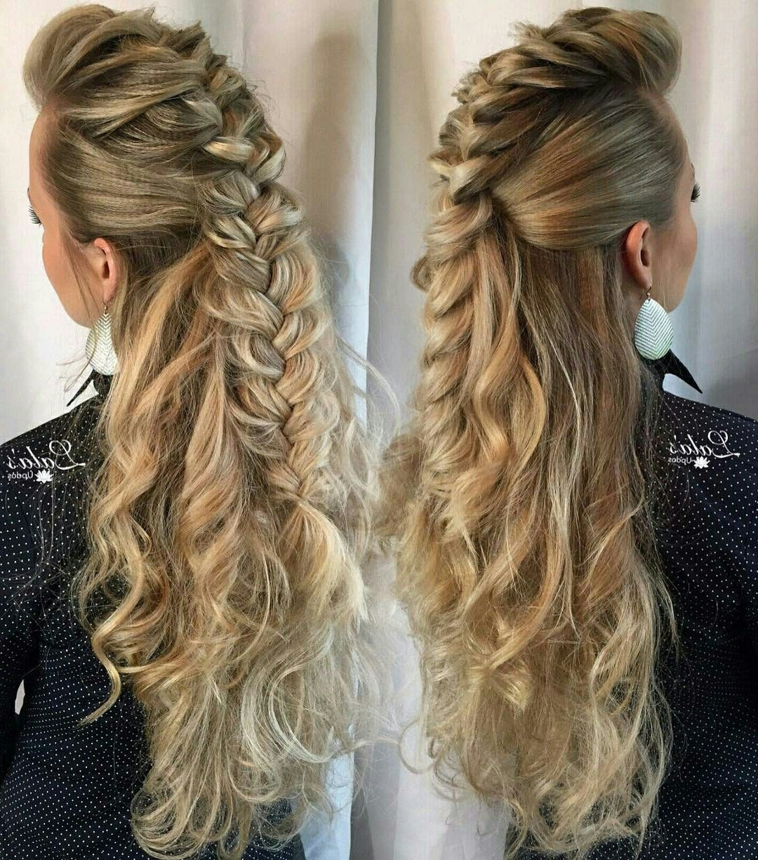 [%Famous Braided Ponytail Mohawk Hairstyles In Mohawk Braid Half Updo | Ideas De Peinado | Moños | Trenzas [Hairdo|Mohawk Braid Half Updo | Ideas De Peinado | Moños | Trenzas [Hairdo Throughout Trendy Braided Ponytail Mohawk Hairstyles%] (View 1 of 20)