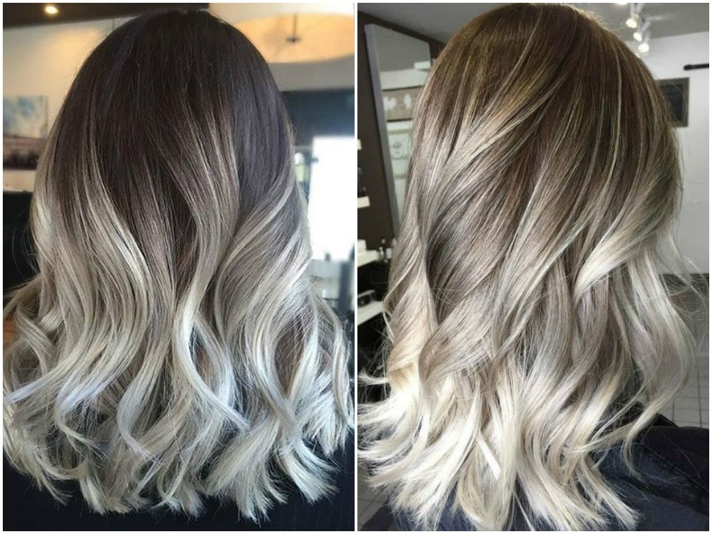 Famous Dark Brown Hair Hairstyles With Silver Blonde Highlights Inside Ash Blonde Balayage And Silver Ombre Hair Color Ideas  (View 11 of 20)