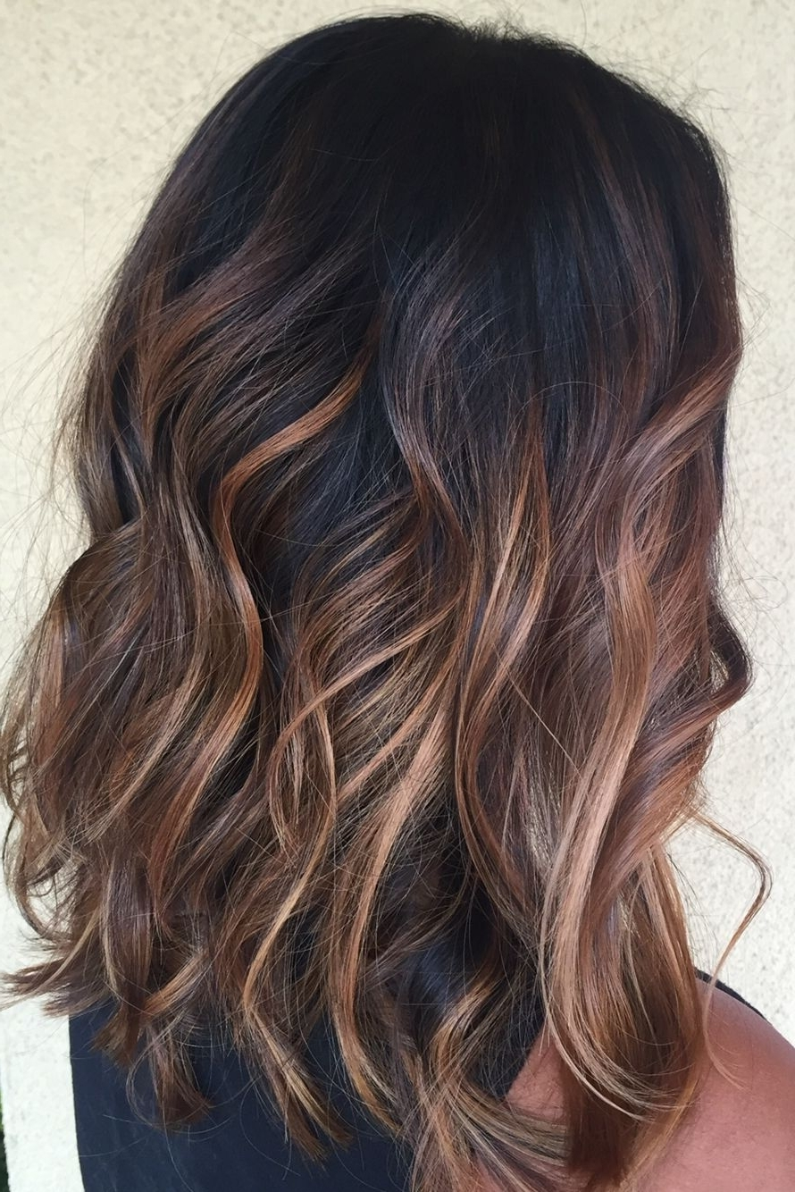 Famous Dark Locks Blonde Hairstyles With Caramel Highlights Regarding Caramel Balayage On Black Hair (View 2 of 20)