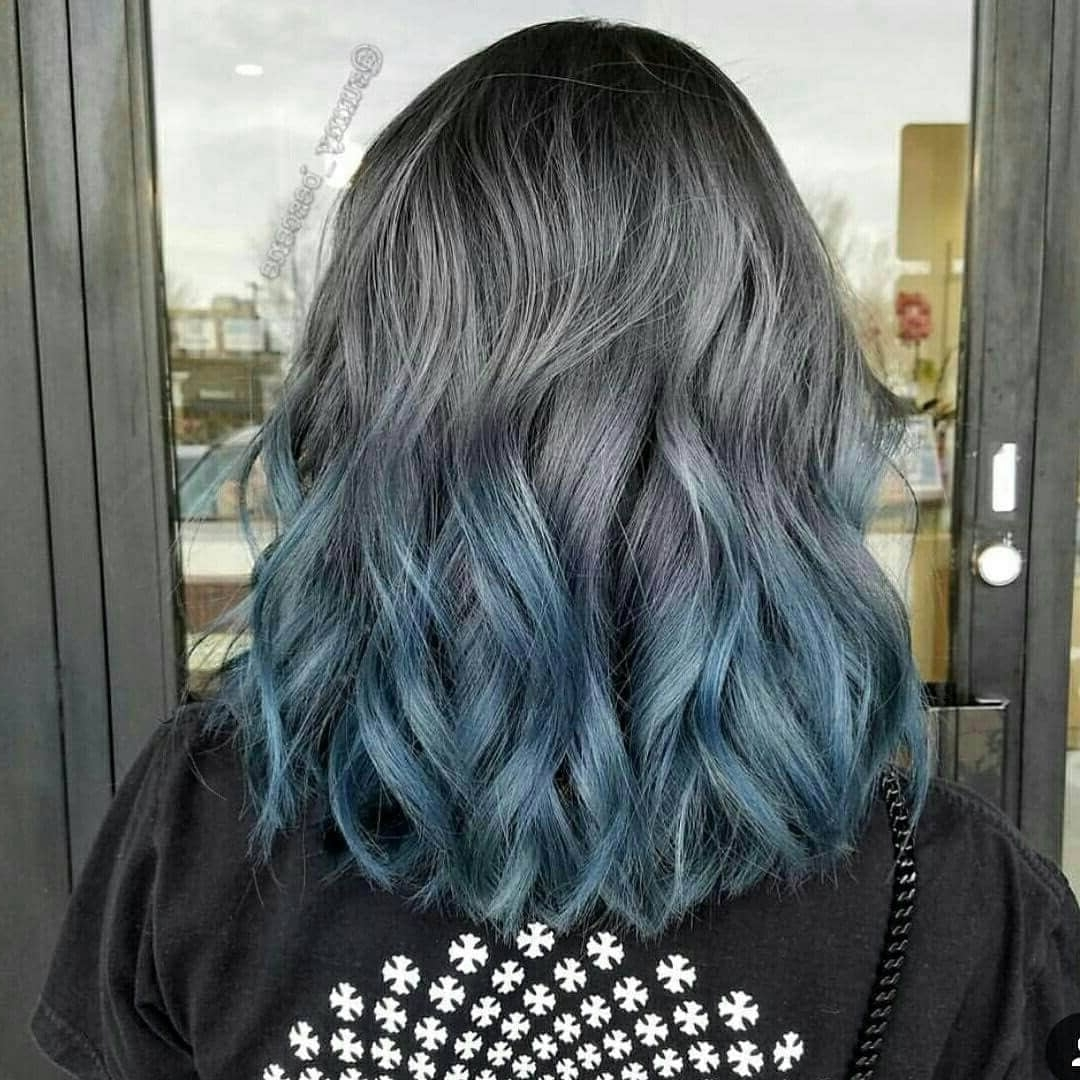 Famous Grayscale Ombre Blonde Hairstyles With 50 Fun Blue Hair Ideas To Become More Adventurous In (View 6 of 20)