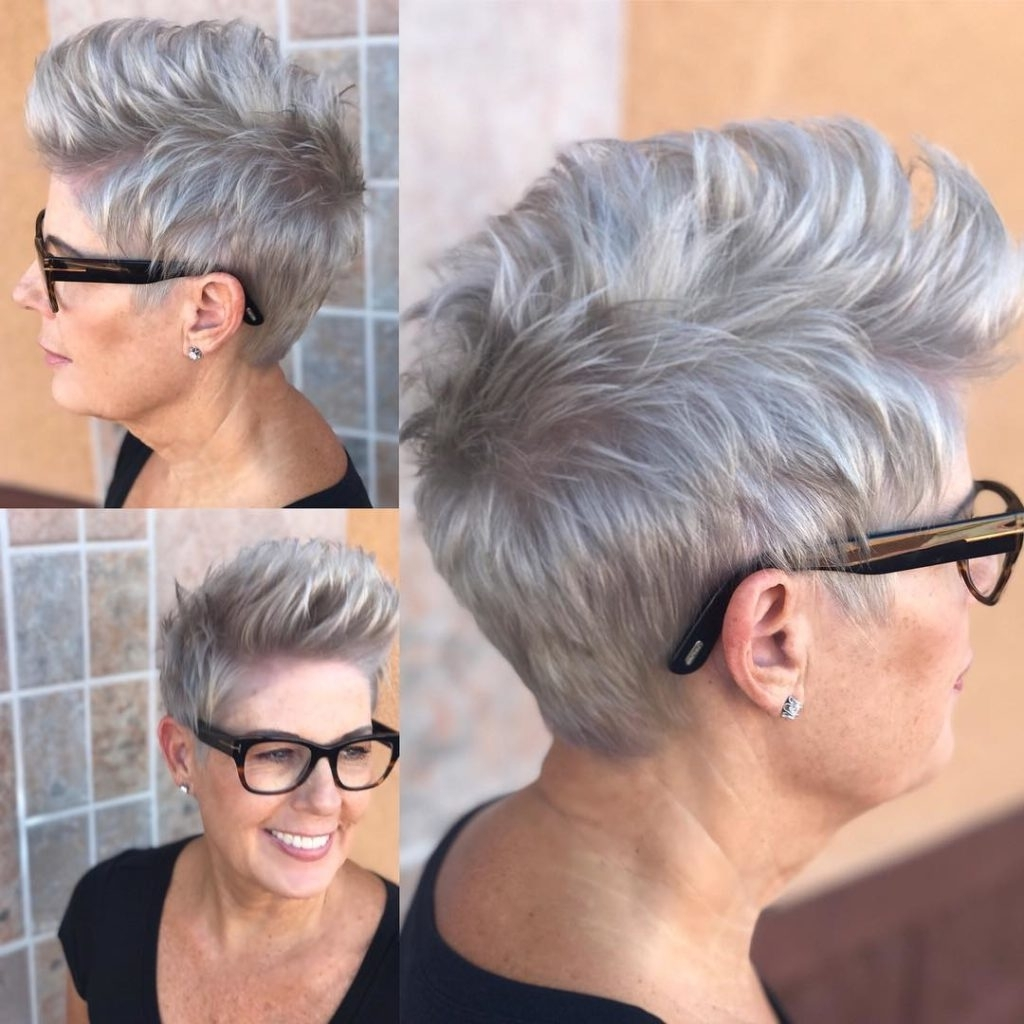 Famous Messy Tapered Pixie Hairstyles With Women's Messy Silver Brushed Up Textured Pixie Crop Short Hairstyle (View 10 of 20)