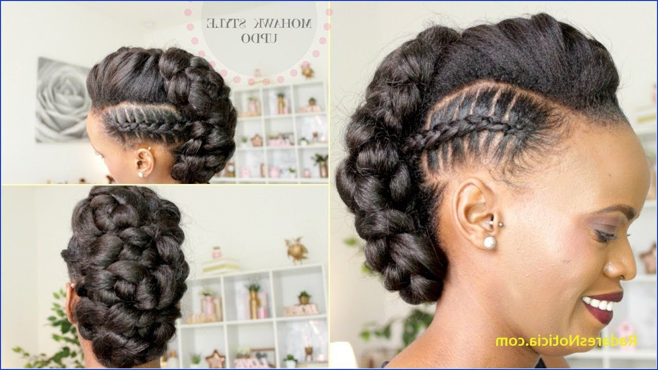 Famous Mohawk Braid And Ponytail Hairstyles Throughout Braided Ponytail Hairstyles For Black Hair Stitch Braid Mohawk Updo (View 4 of 20)