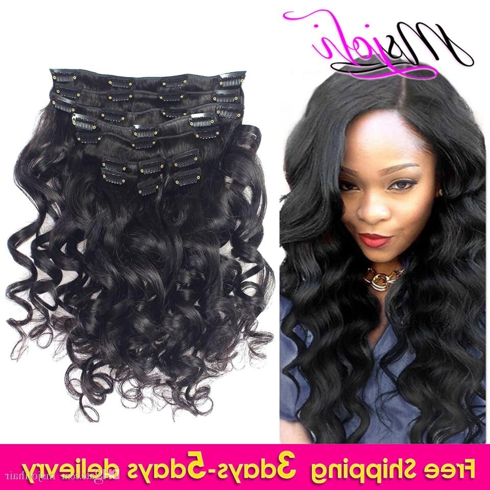Famous Natural Color Waves Hairstyles Intended For 9a Peruvian Virgin Human Hair Loose Wave Clip In Extension Natural (View 2 of 20)