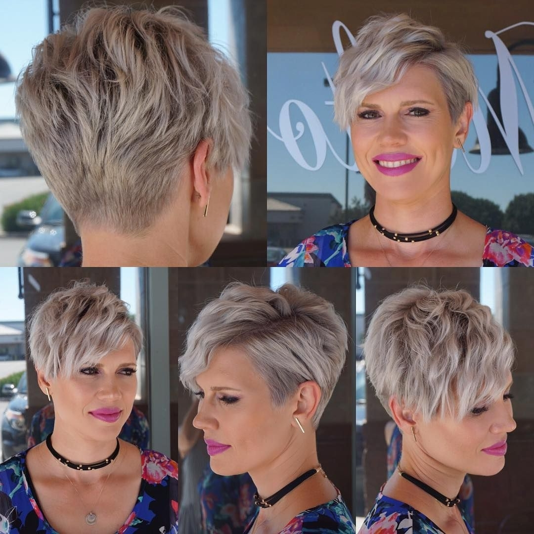 Famous Platinum Blonde Disheveled Pixie Hairstyles With Regard To This Wavy Platinum Blonde Textured Pixie Crop With Side Swept Bangs (View 6 of 20)