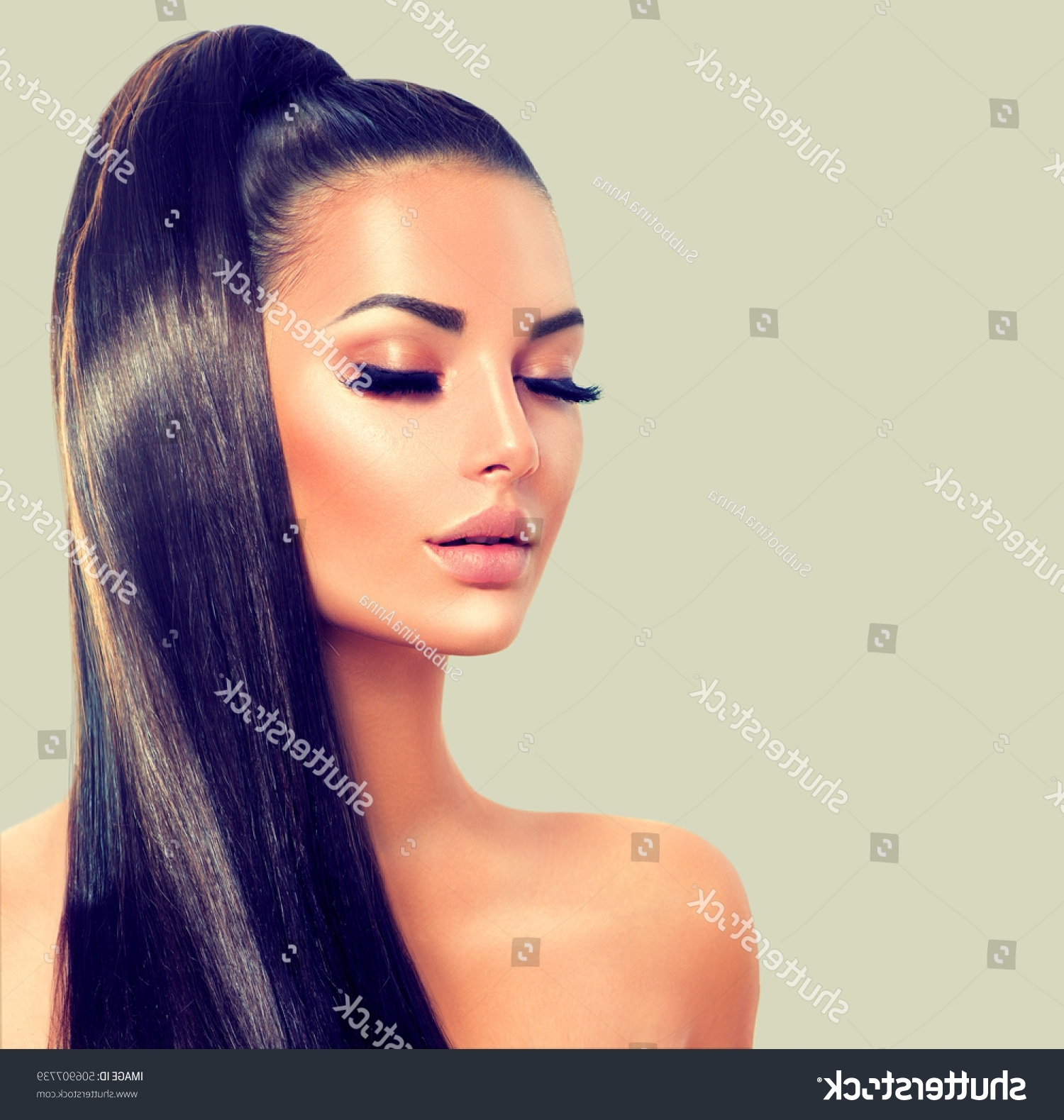 Famous Ponytail Hairstyles For Brunettes In Beauty Brunette Model Sexy Girl Long Stock Photo (Edit Now (View 9 of 20)