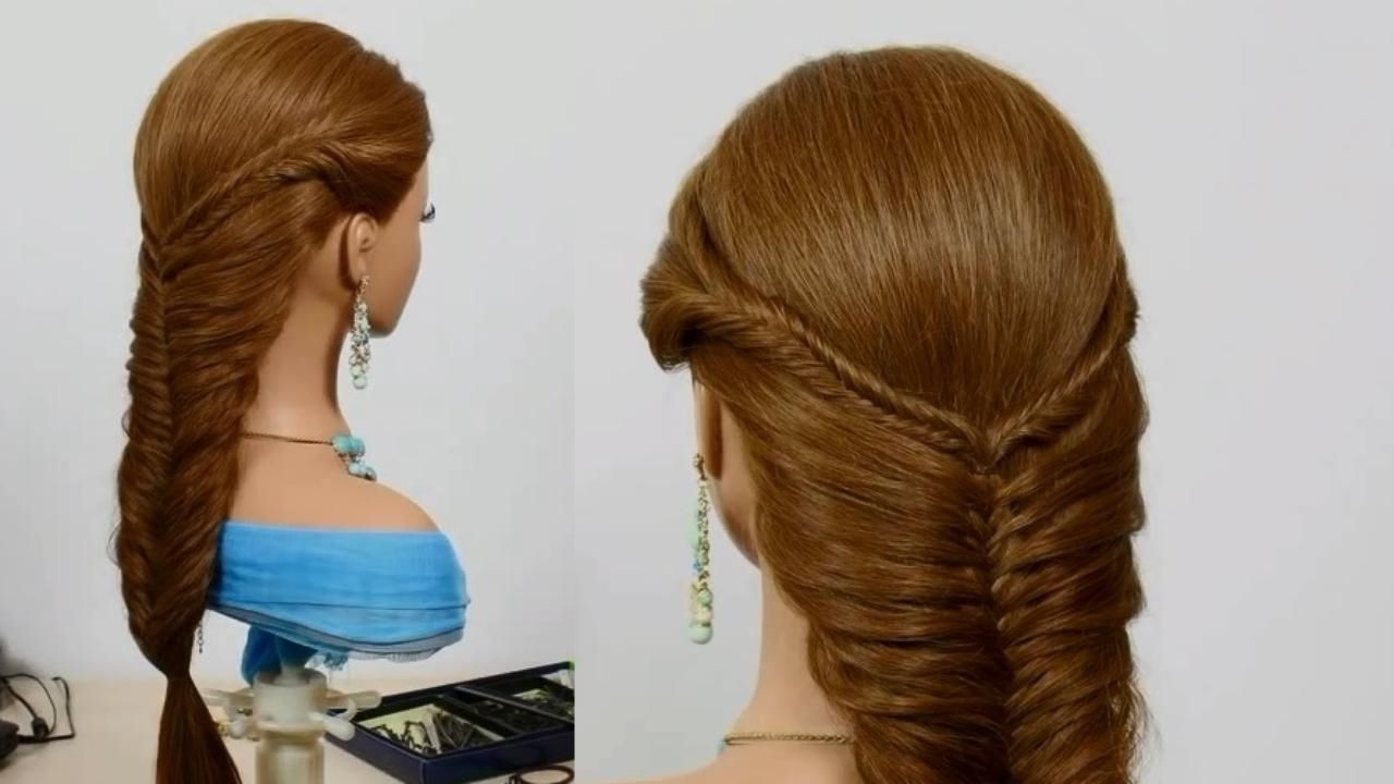 Famous Ponytail Hairstyles For Layered Hair Regarding Ladder Braid Ponytail Hairstyle For Medium Long Hair Tutorial (View 18 of 20)