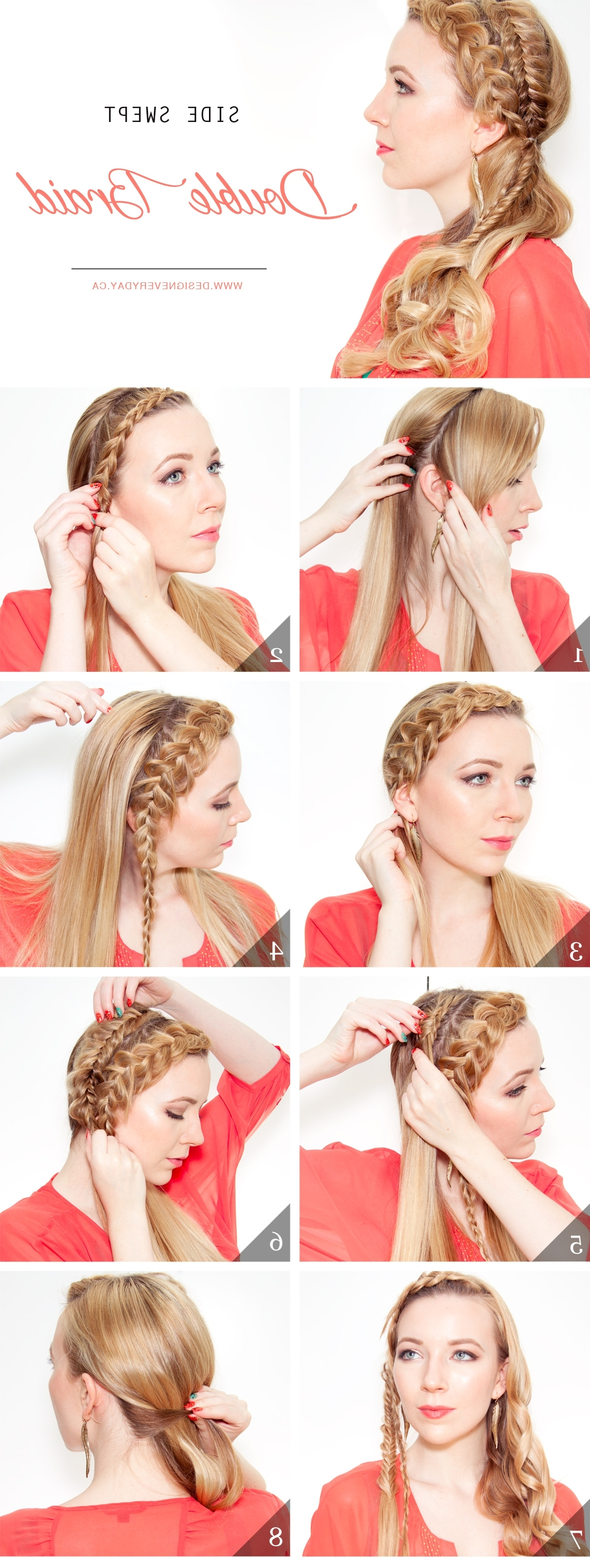Famous Side Swept Pony Hairstyles With Side Swept Double Braid Hair Tutorial • Design Every Day (View 7 of 20)