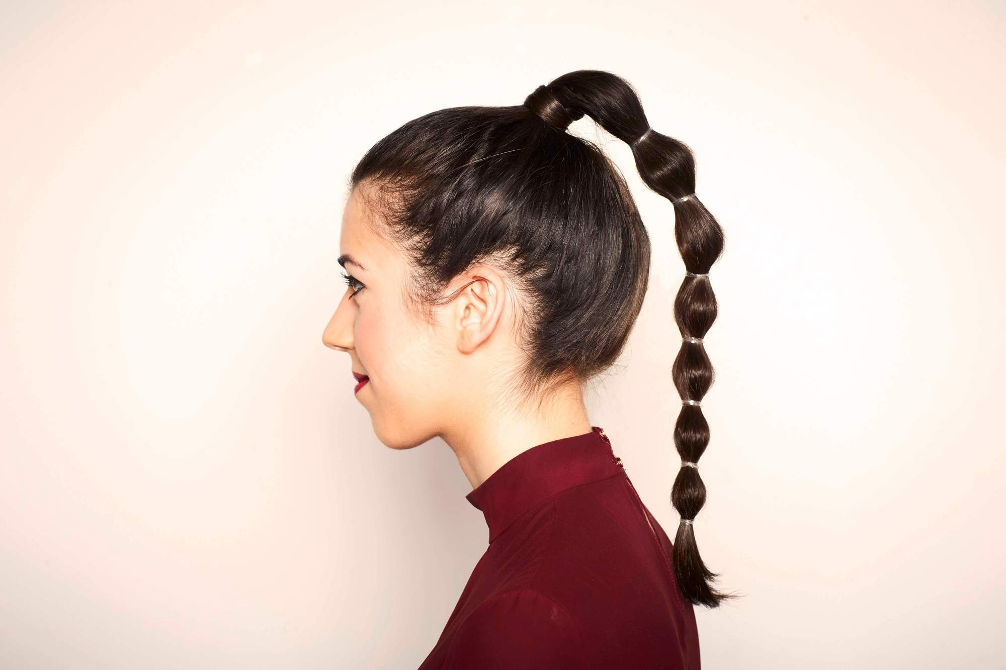 Famous Sleek Bubble Ponytail Hairstyles Within Thick Hair Ponytail Hairstyle Ideas And Inspiration For Valentine's Day (View 12 of 20)