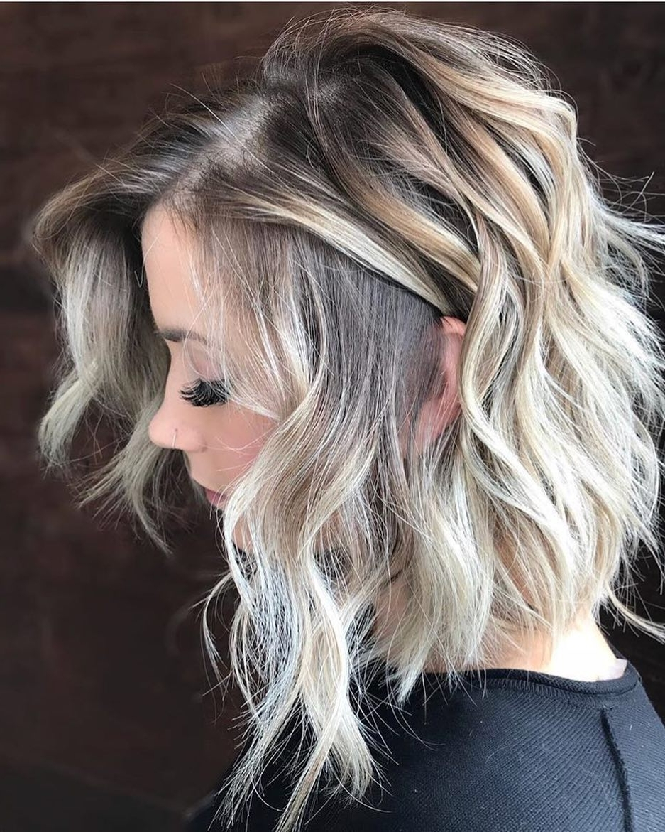 Famous Steeply Angled A Line Lob Blonde Hairstyles Pertaining To 10 Wavy Haircuts For Medium Length Hair 2018 – Color Me Gorgeous! (View 9 of 20)