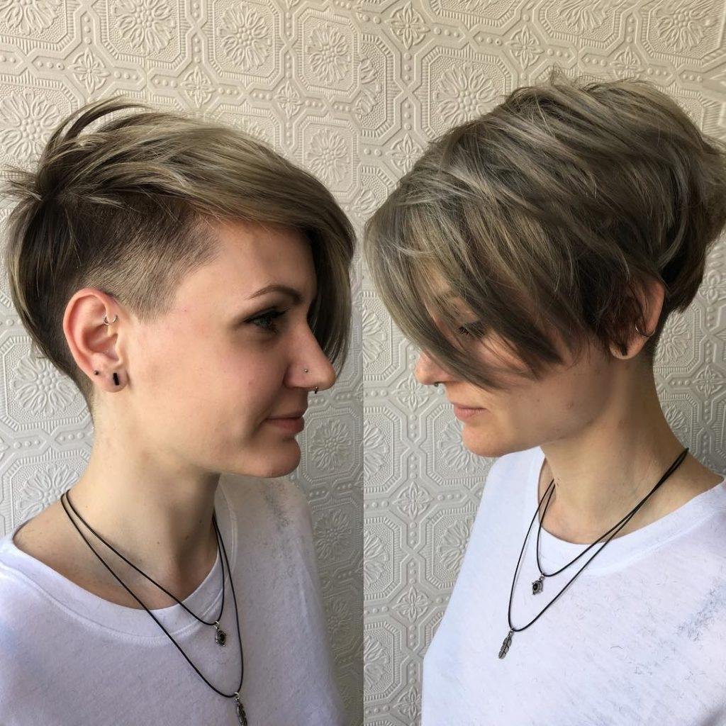Famous Tousled Pixie Hairstyles With Undercut Intended For Women's Textured Asymmetrical Undercut Pixie With Ash Blonde Color (View 7 of 20)
