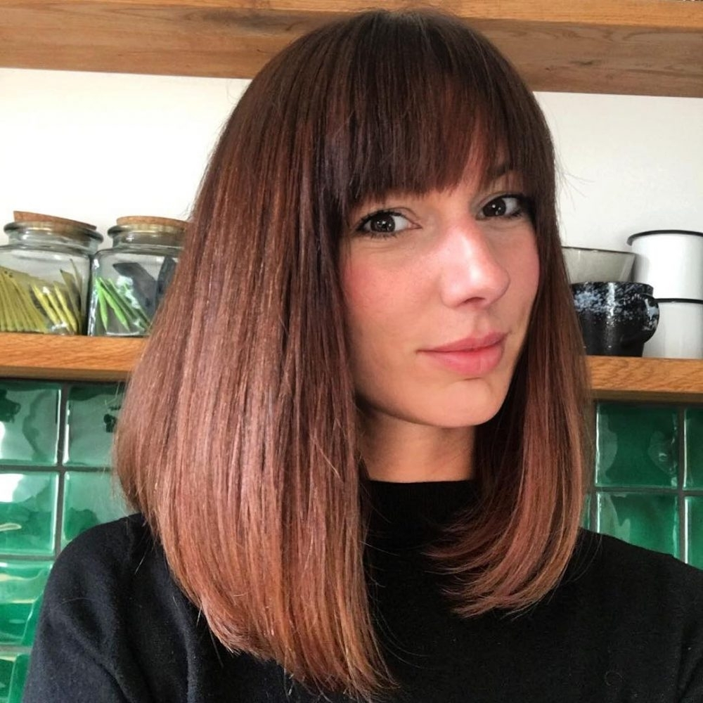 Famous Weaved Polished Pony Hairstyles With Blunt Bangs Inside 40 Gorgeous And Easy Medium To Shoulder Length Bob Haircuts (View 12 of 20)