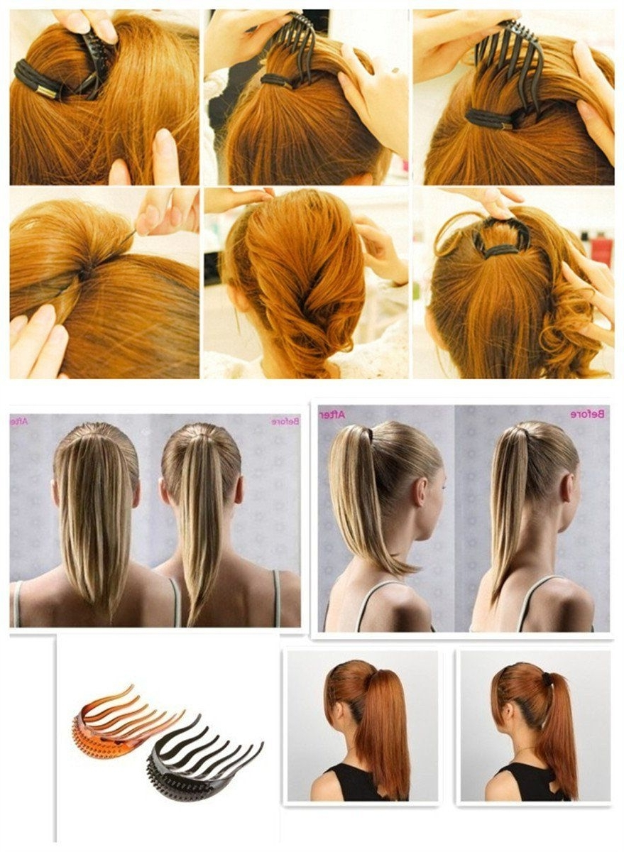 Faschi 2pc Elegant Magic Bump It Up Volume Inserts Hair Clip For Bun For Famous Long Braided Ponytail Hairstyles With Bouffant (View 6 of 20)