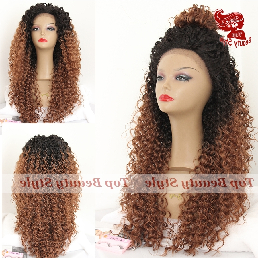 Fashion Style Synthetic Lace Front Wig 1B/#30 Dark Roots Ombre Curly Regarding Best And Newest Ombre Curly Ponytail Hairstyles (View 7 of 20)