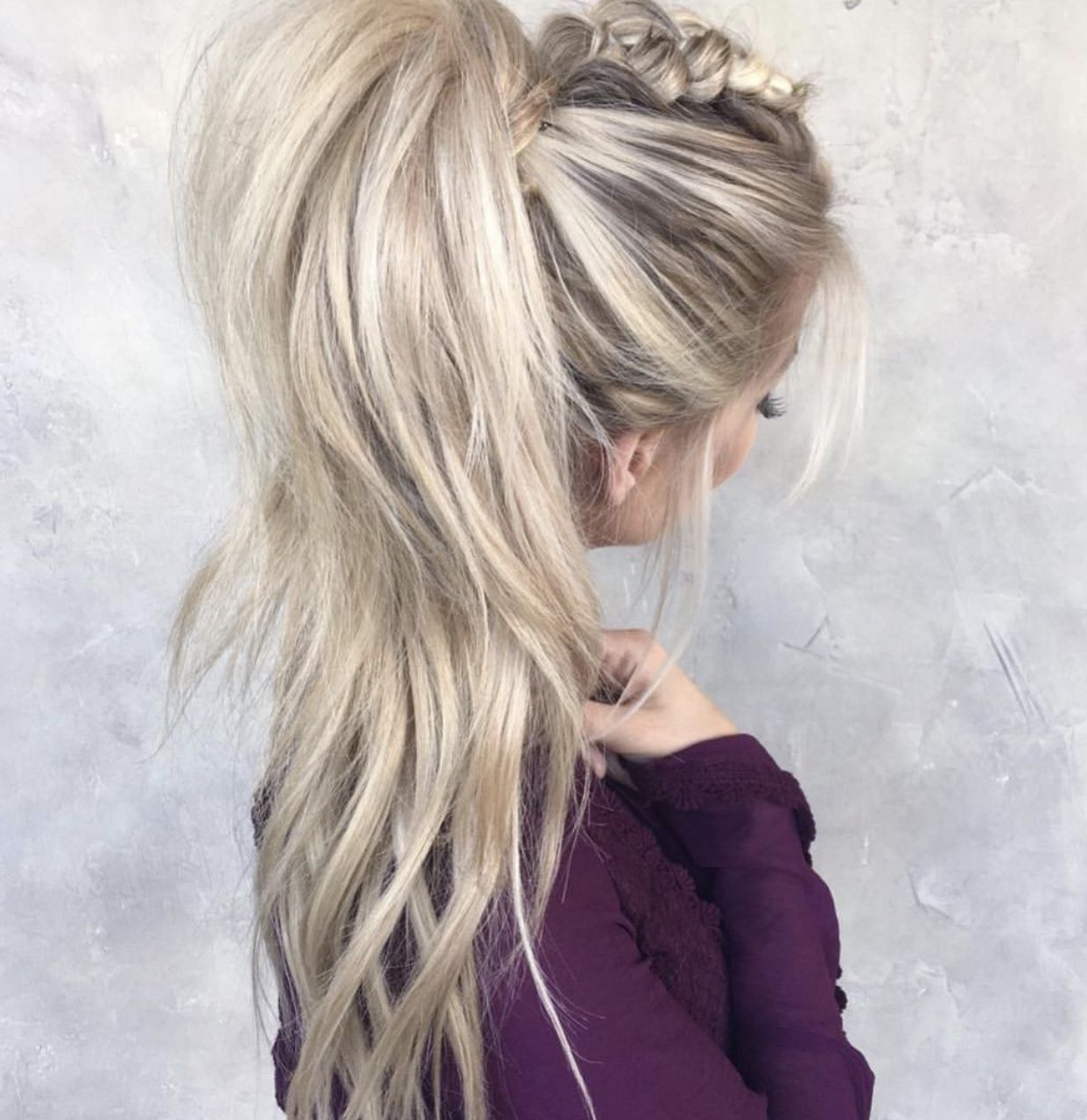 Fashionable Blonde Flirty Teased Ponytail Hairstyles Throughout Teased, Messy Mohawk Braid Pulled Into A High Ponytail (View 9 of 20)