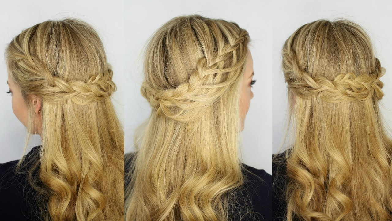 Fashionable Ponytail And Lacy Braid Hairstyles In Cascading Looped Half Up Crown Braid – Youtube (View 11 of 20)