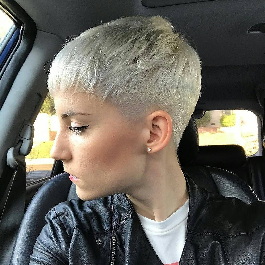 Fashionable Short Silver Crop Blonde Hairstyles Regarding Close Cropped Platinum Blonde Pixie Cut (View 8 of 20)