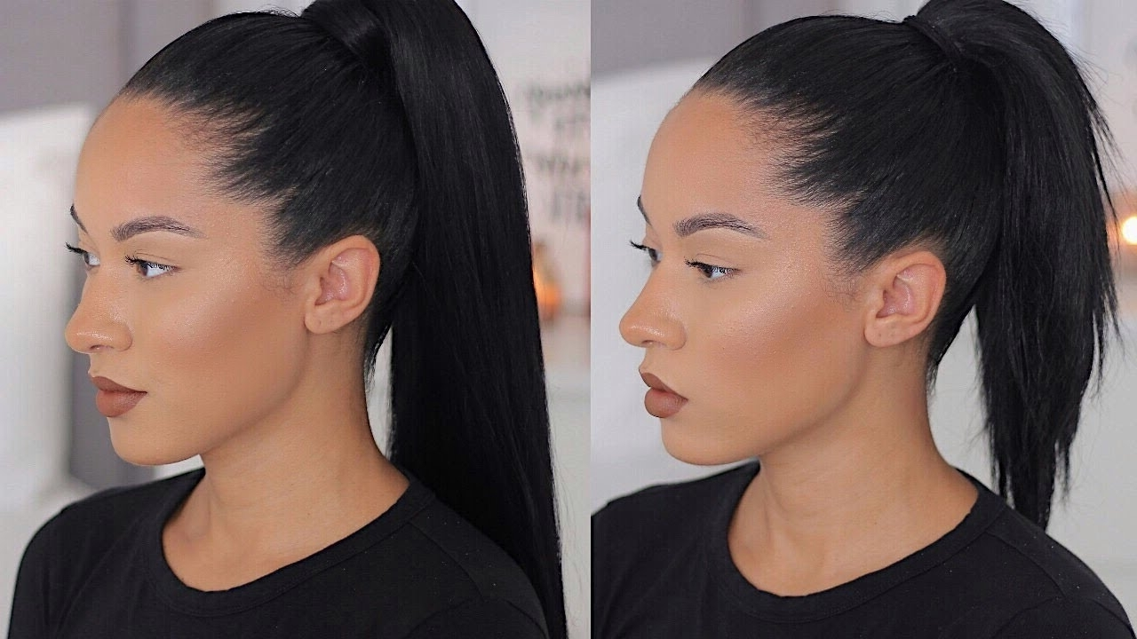 Fashionable Sleek And Shiny Ponytail Hairstyles Pertaining To Long Sleek Ponytail With Short/medium Hair – Youtube (View 9 of 20)