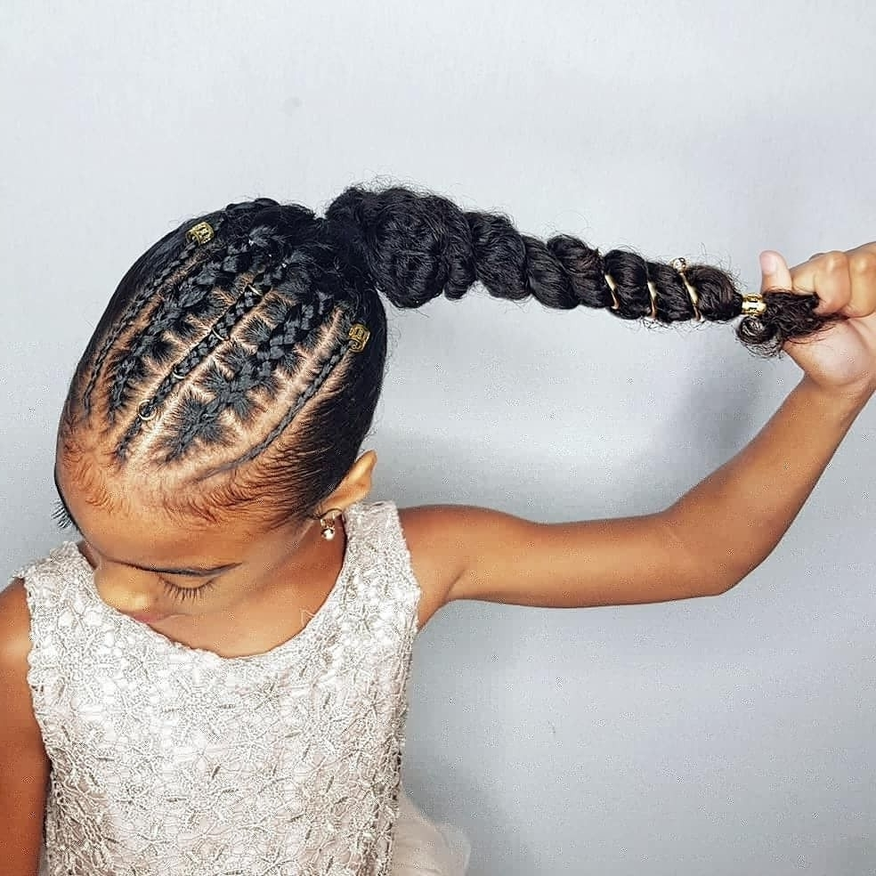 Faux Stitch Braids Ponytail Hairstyles For Curly Little Girls Pertaining To 2017 Curly Pony Hairstyles With A Braided Pompadour (View 9 of 20)