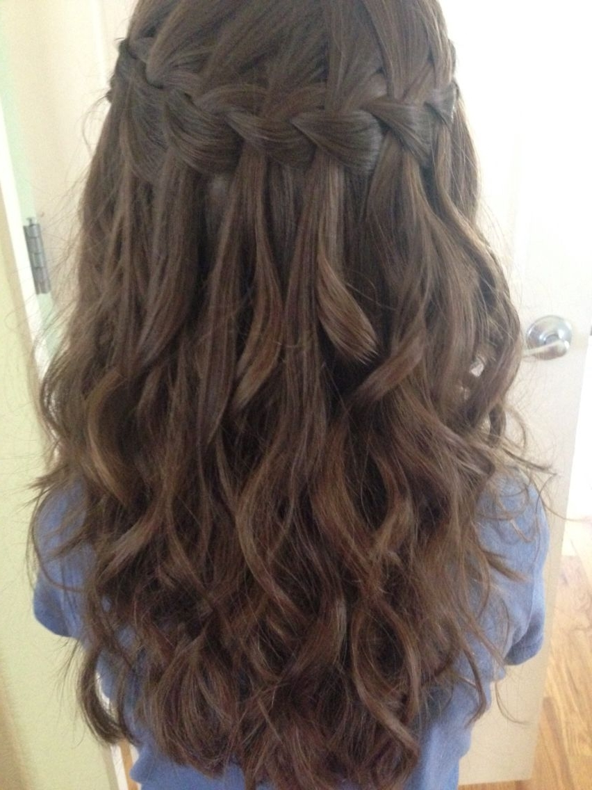 Favorite Braids With Curls Hairstyles In Waterfall Braid I Did On My Niece With Her Next Day Curls (View 10 of 20)