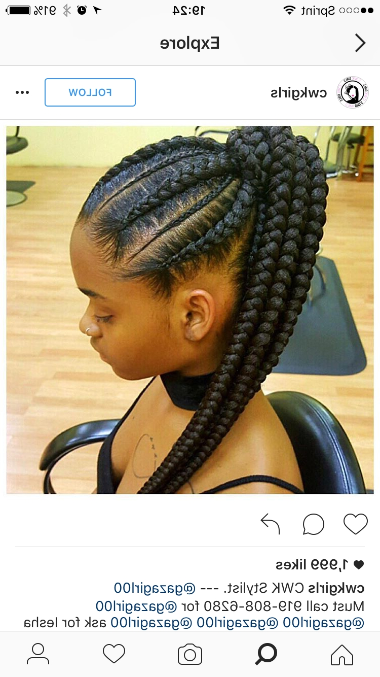 Feed In Braids; Corn Rows; Ponytail; Black Hair; Protective Style Inside Trendy Ponytail Hairstyles With A Braided Element (View 14 of 20)