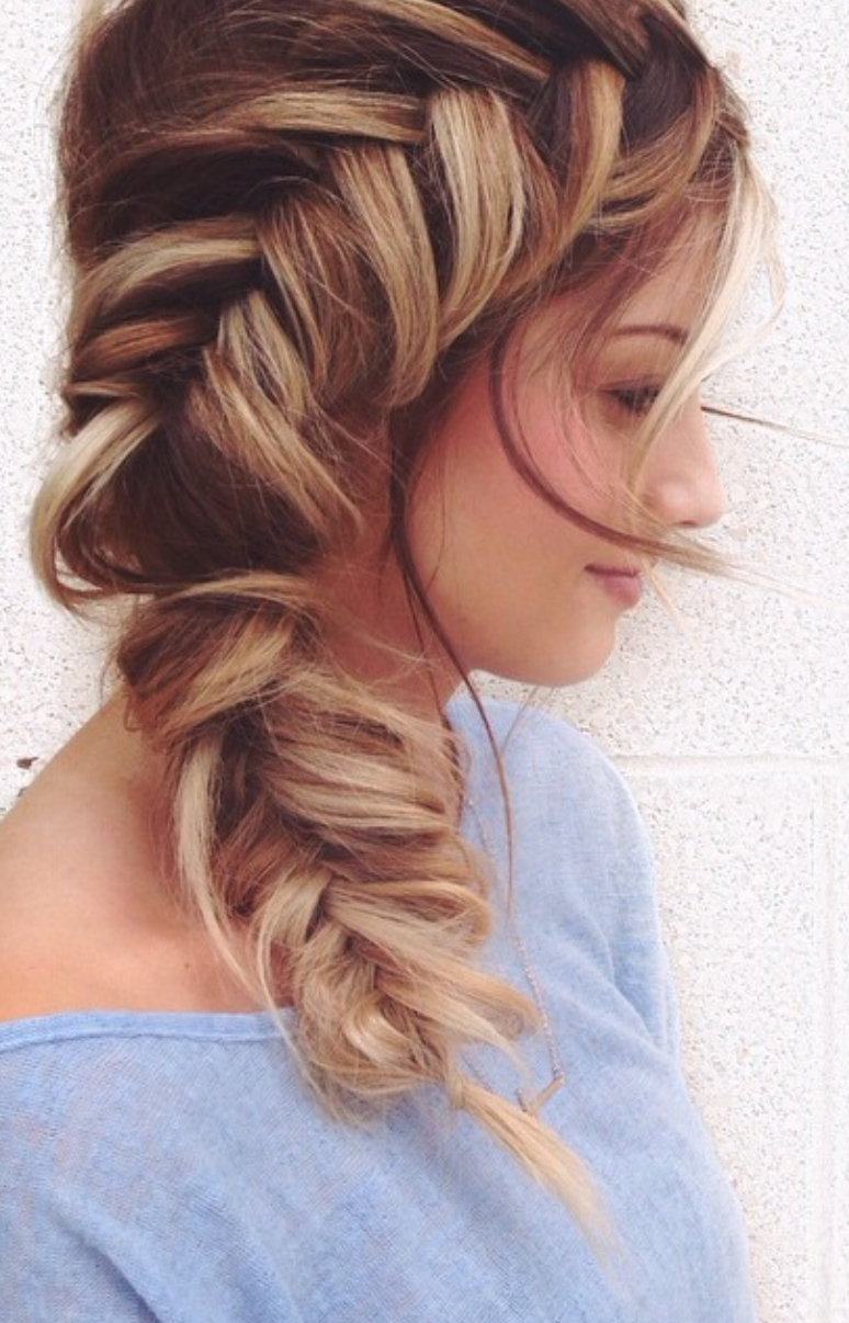 Featured Photo of Side Pony Hairstyles With Fishbraids And Long Bangs