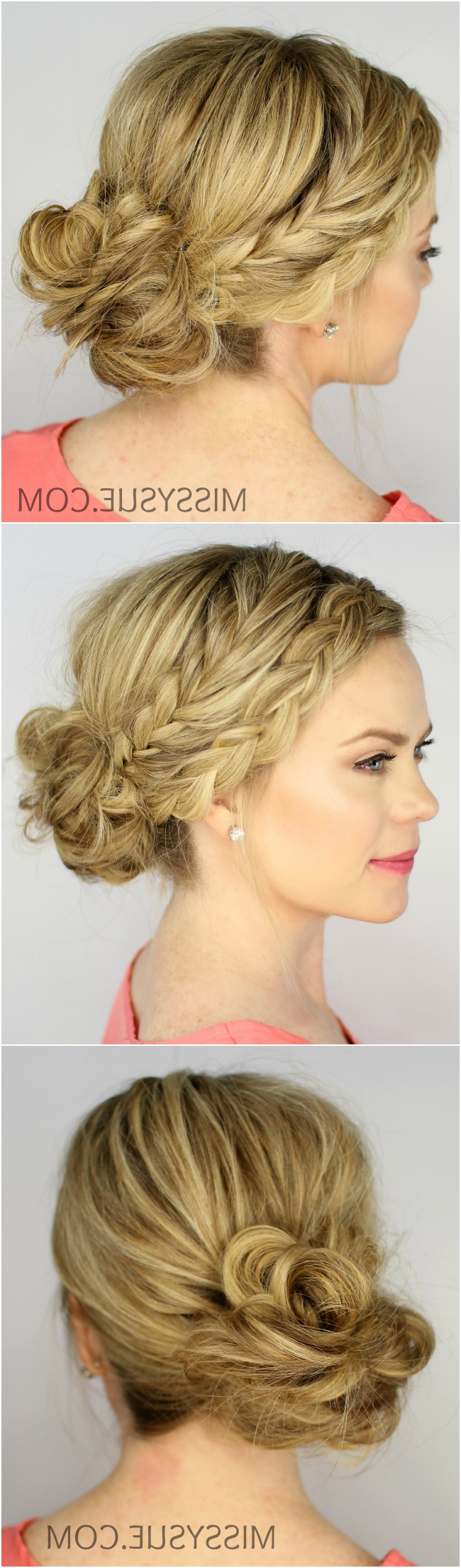 Fishtail And Dutch Braid Messy Bun Inside Most Current Messy Ponytail Hairstyles With Side Dutch Braid (View 16 of 20)